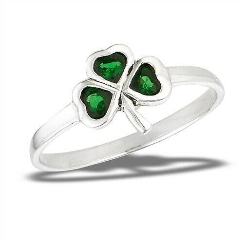 925 Sterling Silver Shamrock 3-Leaf Clover Green CZ Ring Size 5-9