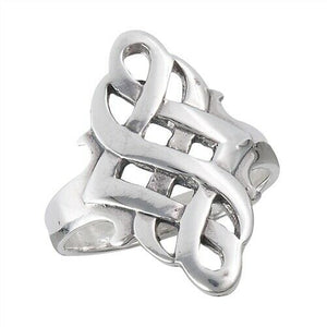 Large 925 Sterling Silver Celtic Endless Knot Ring Size 7-10