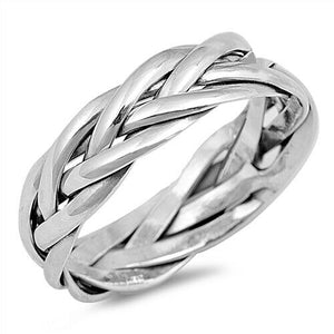 925 Sterling Silver Unisex Celtic Weave Ring Band Size 6-13