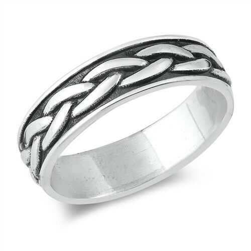 925 Sterling Silver Unisex Celtic Weave Ring Band Size 5-12