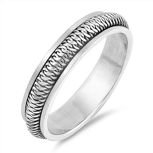 Sterling Silver Unisex Rope Spinner Ring