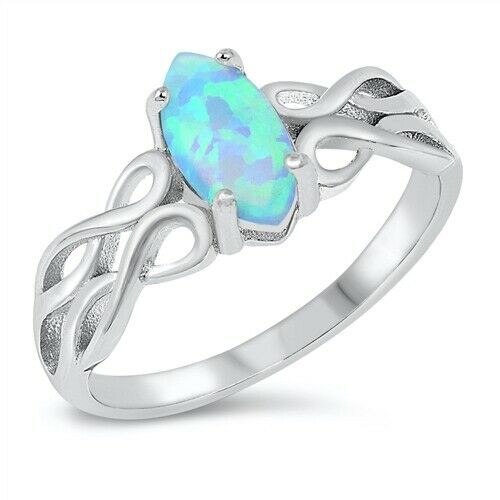 Silver Celtic Knot Ring Light Blue Opal Size 5-10