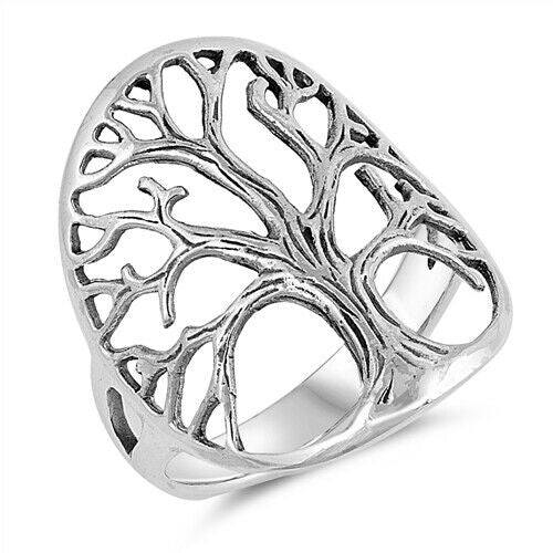 Large 925 Sterling Silver Tree of Life Ring Band Size 5-10