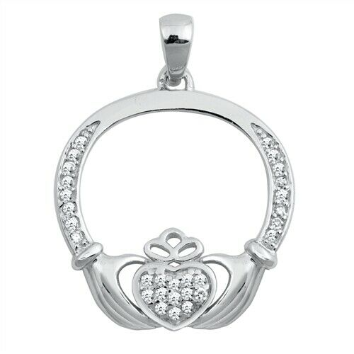 925 Sterling Silver Irish Celtic Claddagh Claddaugh Pendant Clear CZ Necklace Free Chain