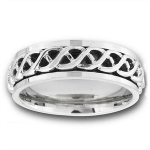 316L Surgical Stainless Steel Celtic Weave Spinner Ring Band