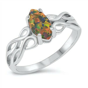 Silver Celtic Knot Ring Black Opal Size 5-10