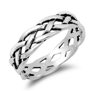 925 Sterling Silver Unisex Celtic Knot Ring Band Size 5-14