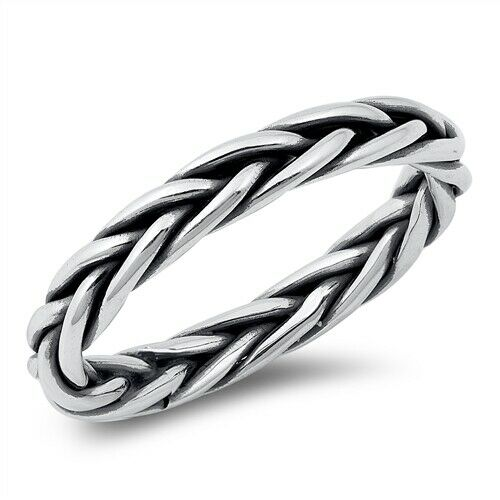 925 Sterling Silver Celtic Weave Ring Band Size 5-10