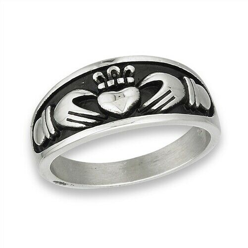 316L Surgical Stainless Steel Irish Claddagh Ring Band