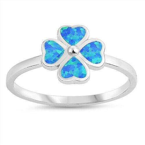 925 Sterling Silver Four Leaf Clover Lab Blue Opal Ring Band Size 5-10