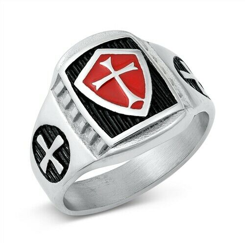 Large 316L Surgical Stainless Steel Medieval Cross Ring