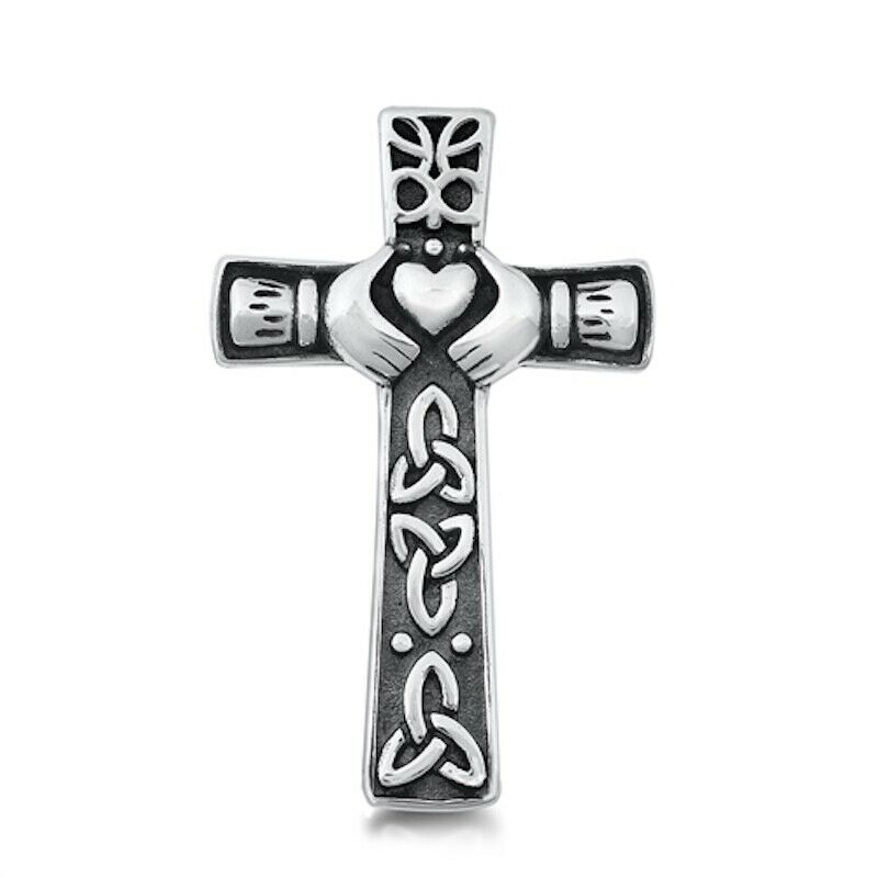 925 Sterling Silver Irish Celtic Claddagh Claddaugh Cross Pendant Necklace Free Chain