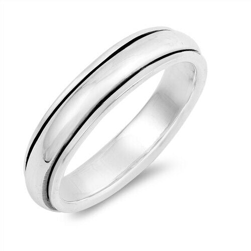 Sterling Silver Unisex High Polished Plain Spinner Ring