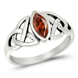 Silver Celtic Trinity / Triquetra Knot Ring Garnet CZ