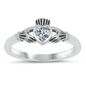 Sterling Silver Irish Claddagh Ring Clear CZ Heart Size 1-9