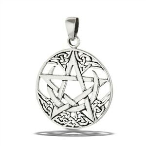 925 Sterling Silver Celtic Crescent Moon Pentagram Pentacle Pendant + Chain