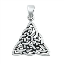 925 Sterling Silver Irish Celtic Triquetra Trinity Knot Pendant Free Chain
