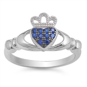 Sterling Silver Irish Claddagh Ring w/ Blue Sapphire CZ Size 4-10