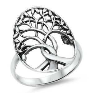 Large 925 Sterling Silver Tree of Life Ring Band Size 4-12