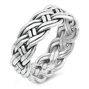 Large Heavy 925 Sterling Silver Unisex Celtic Weave Ring Band Size 7-13