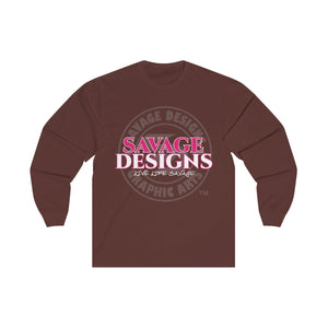 Savage Designs Faded Symbol Hot Pink/White/Grey Long Sleeve- 2 Colors