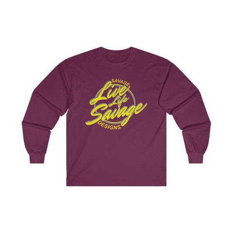 Savage Designs Live Life Savage Calligraphy Yellow/Grey Long Sleeve- 2 Colors