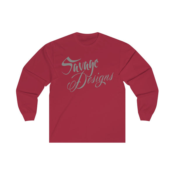 Savage Designs Cursive Script Grey Long Sleeve- 4 Colors