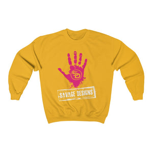 Savage Designs Handprint Stamp Hot Pink/White Sweatshirt- 3 Colors