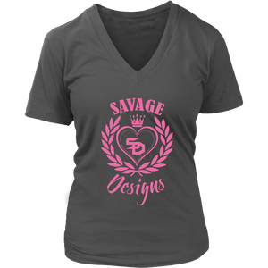 Savage Designs Heart of Hearts Light Pink V-Neck- 9 Colors