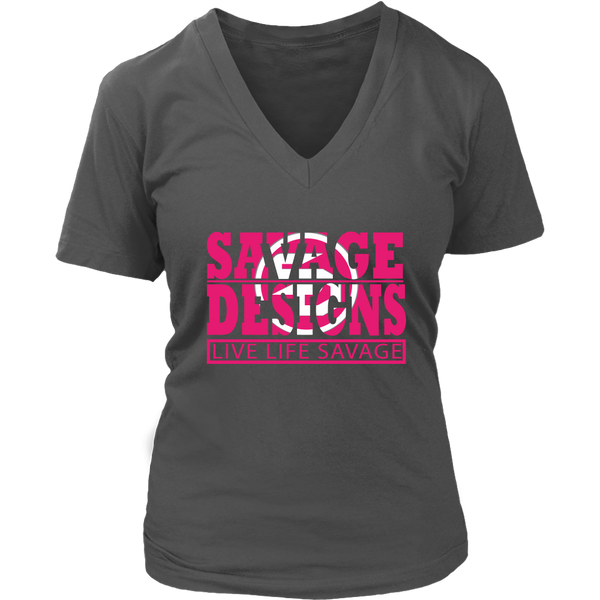 The Savage Within Hot Pink/White V-Neck- 8 Colors