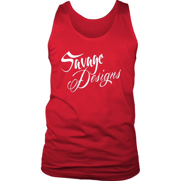 Savage Designs Cursive Script White Tank Top- 11 Colors