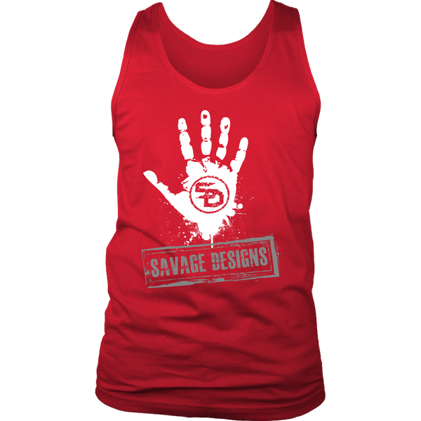 Savage Designs Handprint Stamp White/Grey Tank Top- 7 Colors
