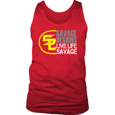 Savage Designs Sliced Up Yellow/Grey/White Tank Top- 8 Colors