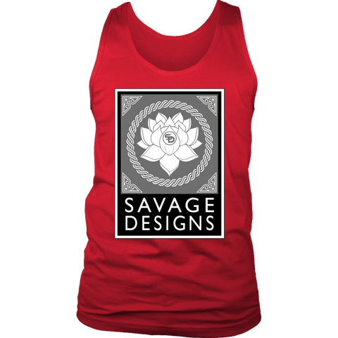 Savage Designs Lotus Flower Grey/White/Black Tank Top- 6 Colors