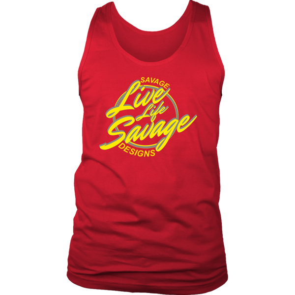 Savage Designs Live Life Savage Calligraphy Yellow/Grey Tank Top- 10 Colors
