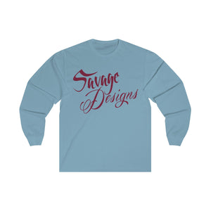 Savage Designs Cursive Script Maroon Long Sleeve- 2 Colors