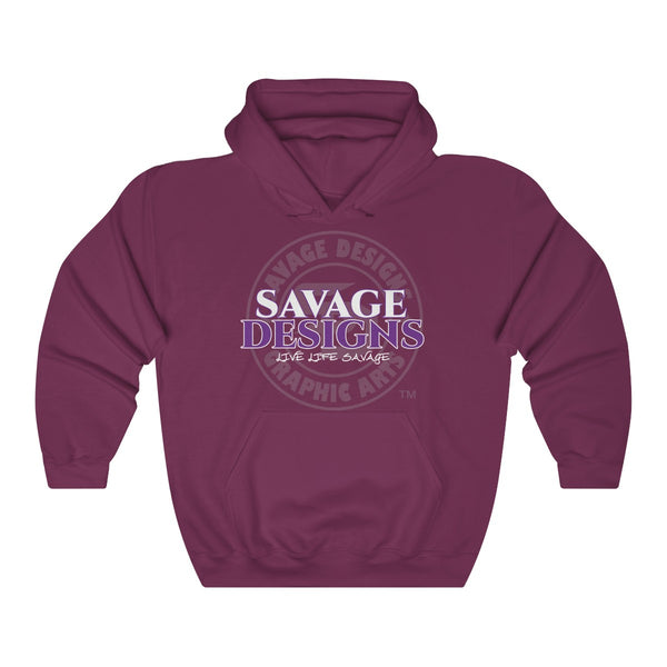 Savage Designs Faded Symbol White/Purple/Grey Hoodie- 2 Colors