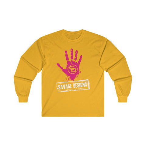 Savage Designs Handprint Stamp Hot Pink/White Long Sleeve- 4 Colors