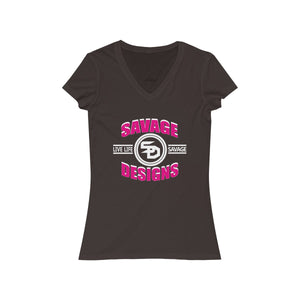 Savage Designs Dead Focus Hot Pink/White V-Neck- 4 Colors