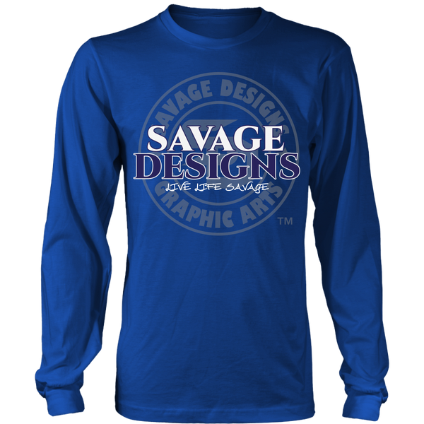 Savage Designs Faded Symbol White/Navy/Grey Long Sleeve- 7 Colors