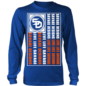 Savage Designs Flag White/Orange Long Sleeve- 8 Colors