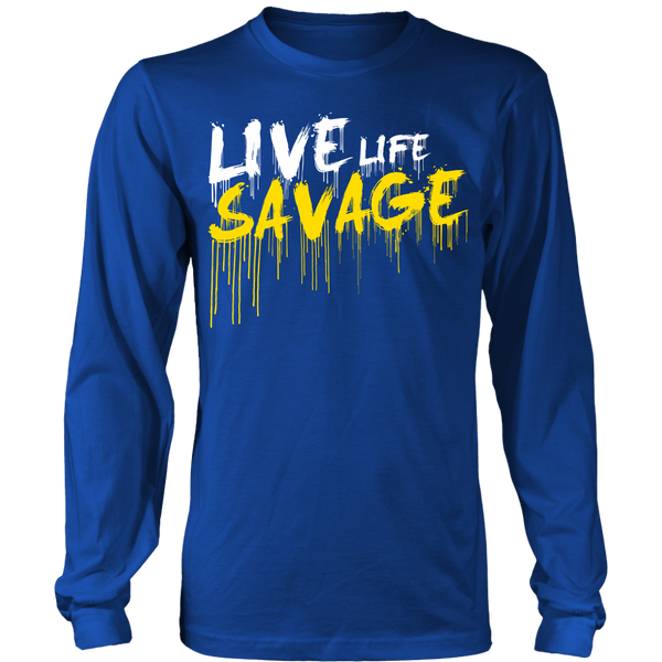 Live Life Savage Paint Drip White/Yellow Long Sleeve- 9 Colors