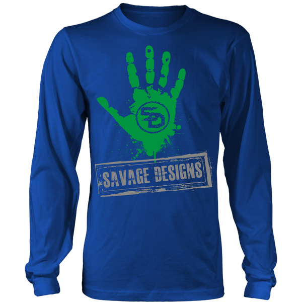 Savage Designs Handprint Stamp Green/Grey Long Sleeve- 7 Colors