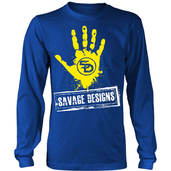 Savage Designs Handprint Stamp Yellow/White Long Sleeve- 9 Colors