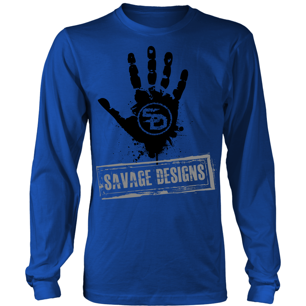 Savage Designs Handprint Stamp Black/Grey Long Sleeve- 8 Colors