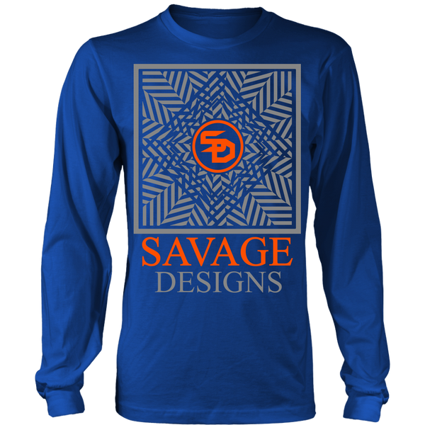 Savage Designs Optical Illusion Grey/Orange Long Sleeve- 9 Colors