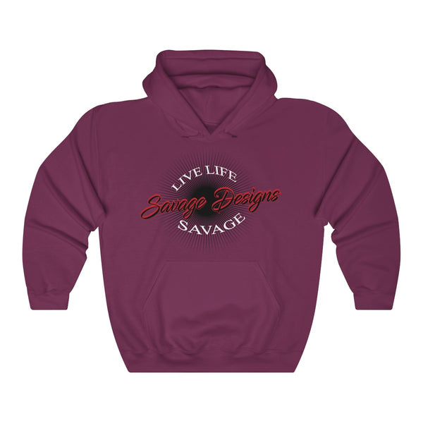 Savage Designs Sunray Flare Black and Red Hoodie- 2 Colors