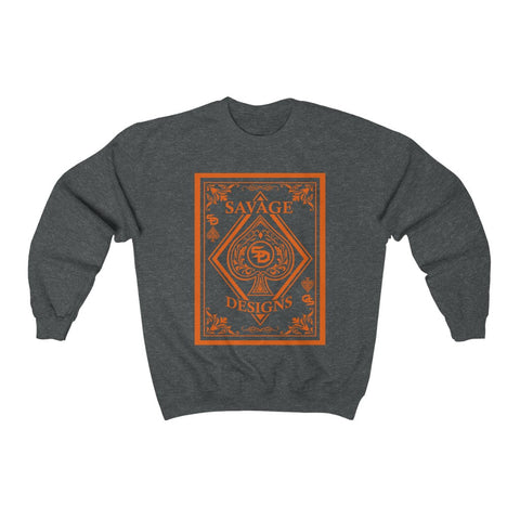 Savage Designs Ace of Spade Orange Sweatshirt- 4 Colors