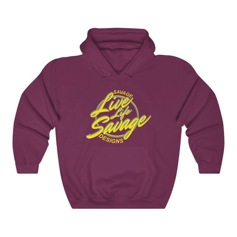 Savage Designs Live Life Savage Calligraphy Yellow/Grey Hoodie- 3 Colors