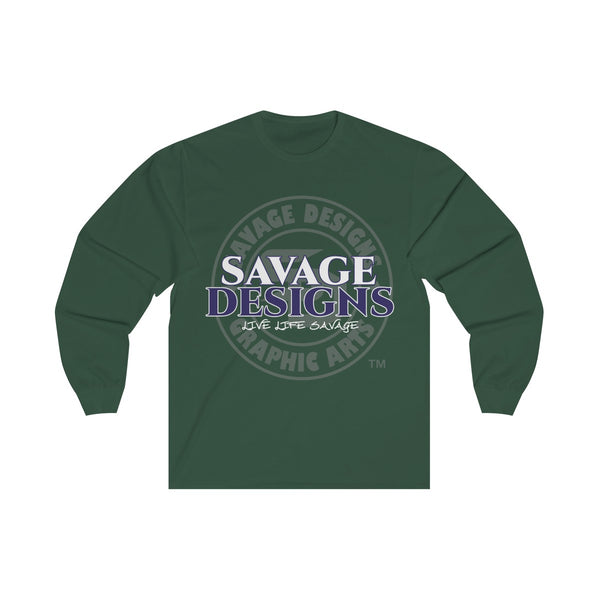 Savage Designs Faded Symbol White/Navy/Grey Long Sleeve- 5 Colors